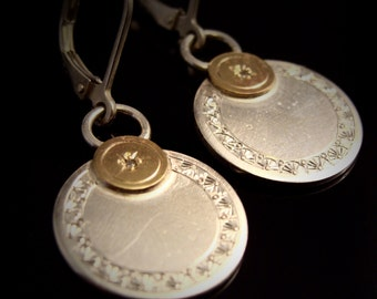 Hand Engraved Sparkly Sterling Silver Earrings With Diamond In 14k Gold