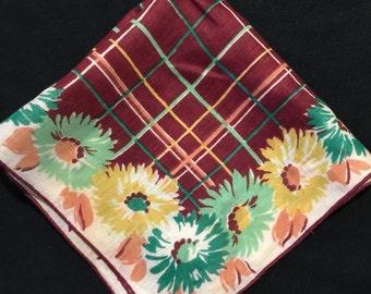 Vintage Brown Plaid Ladies' Hankie/Handkerchief with Teal, Green & Yellow Flowers