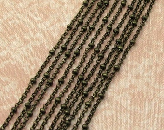 Satellite Chain With 2.5mm Balls And 2mm Rolo links, Soldered, Antique Brass, 6' AB124