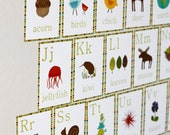 Alphabet Wall Cards, 5x7, English, Nature Themed, Nursery Wall Art, Kid's Art Decor, Gender Neutral Nursery