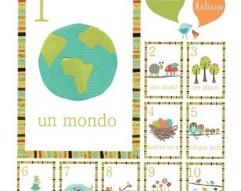 Italian Number Children's Wall Cards, Kid's Counting Art, 5x7, Nursery Wall Art, Woodland Nursery, Gender Neutral