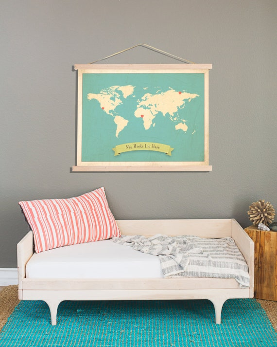 World Map, My Roots Customizable Print + Frame Kit, 24x18 or 36x24, Nursery Wall Art, Kid's Art Decor, Gender Neutral