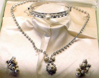 Vintage Rhinestone And Pearl Wedding Set - 1950's - By Chique Of Hollywood - Bangle Bracelet With Chain - Screw Back Earrings - Necklace
