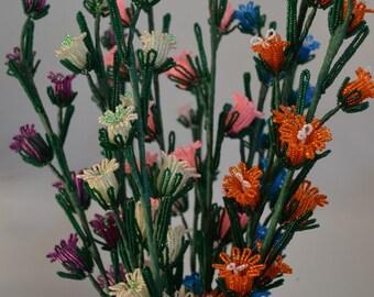 NEW* Handmade french beaded flowers Canterbury Bells Neon Pink, Magenta & Cream