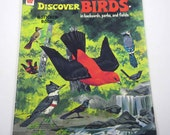 Vintage 1970s Children's Unused Sticker Fun Book Entitled Discover Birds in Backyards, Parks and Fields by Whitman