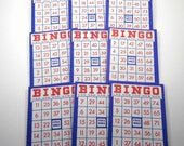 Vintage Red White and Blue Patriotic Bingo Cards Set of 9