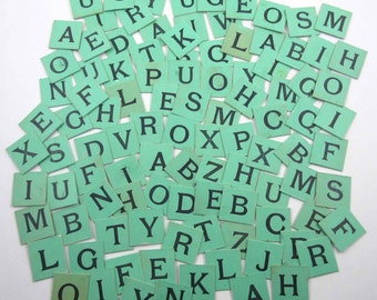 Vintage Green Cardboard Anagram Letter Tiles or Game Pieces Parker Bros. Set of 103