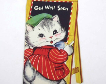 Vintage Tabby Cat Get Well Greeting Card with Cat at Chalkboard