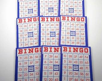 Vintage Red White and Blue Patriotic Bingo Cards Set of 9