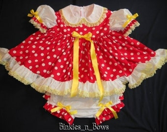 Adult Baby Sissy Littles ~ Red Dot Dress Set ~ Binkies n Bows