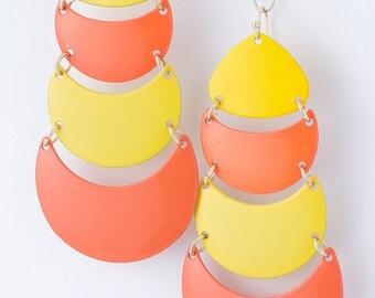opera house metal yellow orange crecent moon curve dangle serious classic rare earring disc