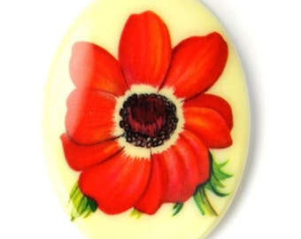 Vintage Cameo Plastic 40x30mm Flower - Red (1) VIC288