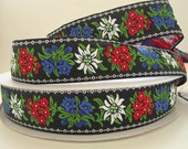 EDELWEISS wide Jacquard trim. 3 yards. White, red, blue, green, on black.  1 5/8 inch wide. 2009-A Bavarian dress trim