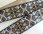 3 yards MAGYAR CROSS, wide, Jacquard trim. White, light tan, on black. 1 5/8 inch wide. 201-P