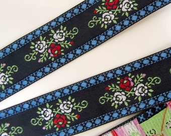 3 yards FLORAL CLUSTERS wide Jacquard trim. Red, white, pink, green, blue on navy .  1 3/16 inch wide. 2007-A Bavarian dress trim
