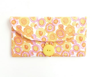 cash envelope wallet. woman coupon holder. checkbook cover. yellow floral summer fabric cotton material. cute gift idea