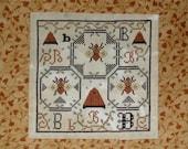 The Bee Sampler - PAPER cross stitch pattern - from Notforgotten Farm