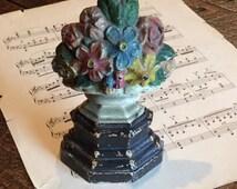 Hubley Doorstop Antique Cast Iron Victorian Flower Basket Floral