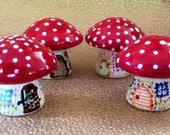 Magic Fairy Mushroom Salt & Pepper Shakers Red and White Woodland
