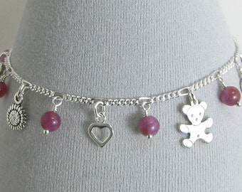 Ruby and Sterling Silver Sentimental Charm Bracelet