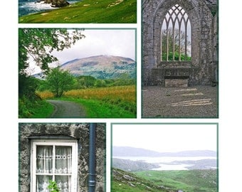 Photo Set, Five Image Collage, Ireland Photograph, Irish Abbey, Castle Window, Irish Landscape, Nature Print, Achill Island, Conor Pass