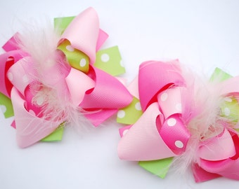 boutique MINI mod hot PINK and LIME green set of 2 hair bow clips