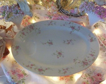 vintage haviland pale pink roses oval meat platter with juice well, delicate pink and white floral print china, shabby cottage chic, serving