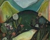 Near and Far, bird, nature, flowers, fine art print