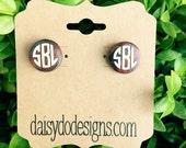 Monogrammed Wooden Earrings, Monogrammed Earrings