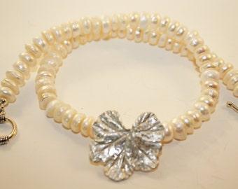 Precious Metal Clay Geranium Leaf, freshwater pearls