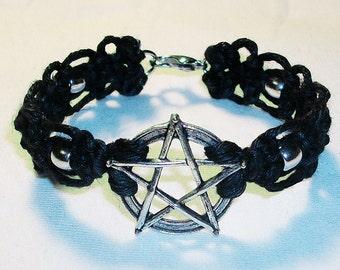 Celtic Pentagram and Lace Hemp Bracelet - Pagan Star Bracelet - Black Macrame Hemp Jewelry with Silver Beads