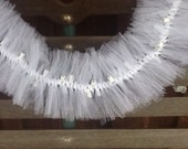 Wedding Lighted Swag Garland with White Tulle Netting
