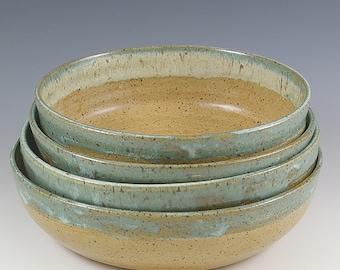 Pottery Bowl Set, 6-6 1/2 inch, Small Ceramic Condiment Bowls, Dessert Bowls, Farmhouse Pottery Prep Bowl Set, Wedding Gourmet Cooking Gift