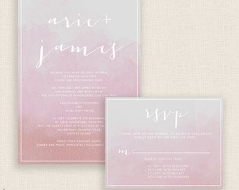 BLUSH WATERCOLOR - DIY Printable Wedding Set - Invitation and Reply Card