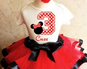 Minnie Mouse Red Black White Polka Dots Dotted 3rd Third Girl Birthday Tutu Outfit Custom Personalized Name Age Party Shirt Set