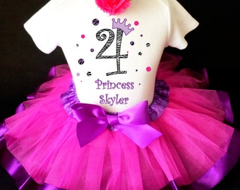Zebra Princess Crown Purple Hot pink Polka dots dotted 4th Number 4 Girl Birthday Tutu Outfit Custom Personalized Name Age Party Shirt Set