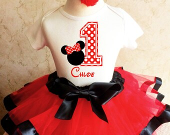 Minnie Mouse Red Black White Polka Dots Dotted 1st First Girl Birthday Tutu Outfit Custom Personalized Name Age Party Shirt Set