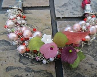 Lulu Wire Crochet Necklace by Tammy Leverich for Gaijin Geisha Jewelry and Kitsch