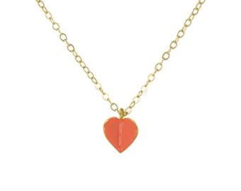 Flying Heart Gold Necklace // Sweet Little Origami Heart Pendant on Dainty Chain Necklace // Choose Your Accent Color