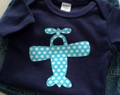 Baby Boy Clothing // Navy Blue Bodysuit // Boy Clothing // Turquoise Airplane Appliqué // size 12-18 months / Baby Boy Clothes