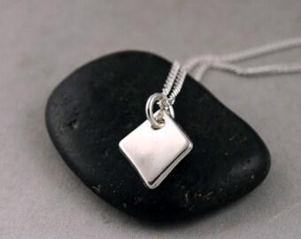 Tiny Geometric Pendant Necklace, Silver Diamond Necklace, Silver Simple small pendant necklace, minimalist and modern