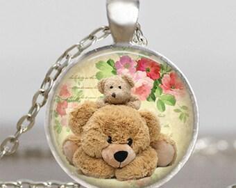 Teddy bear necklace , cute teddy pendant ,  teddy jewelry, art pendant , gift for friend family , cuddly teddy necklace