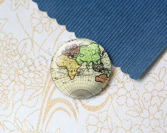 4pcs handmade world map the earth glass cabochons 25mm (250674)