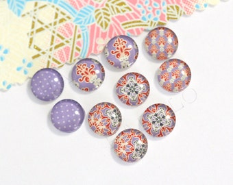 10pcs handmade assorted style round clear glass dome cabochons 12mm (12-0416)