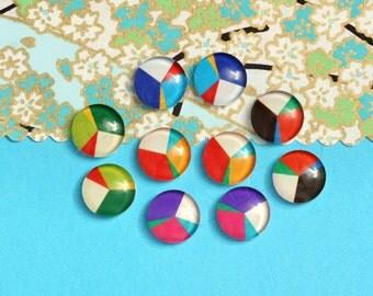 10pcs handmade assorted geometric round glass dome cabochons 12mm (12-9448)