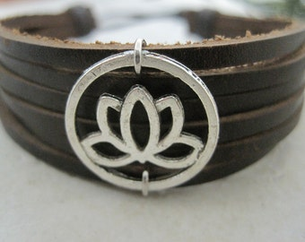 Leather Bracelet Women's Lotus Flower Leather Wrap Bracelet Cuff