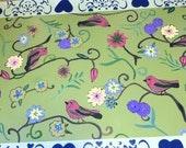 floorcloth floor mat painted rug birds green blue red 2 X 3 feet art for the floor CUSTOM ORDER