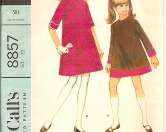 Vintage McCall's 8857 Girls Dress Pattern Size 12