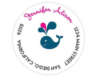 Pink and Blue Whale Round / Circle Return Address Labels / Stickers - 1.75 inch circles / 20 per set