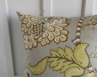 pillow cover cushion cover decorative pillow gray botanical 18X18